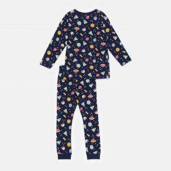 Пижама (футболка с длинными рукавами + штаны) H&M 203-743932201 Темно-синий/Космос