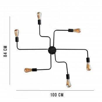 Світильник стельовий 100lamp Loft Е-27 метал, чорний (NL 10084/6 spider)