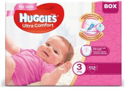 Підгузки Huggies Ultra Comfort Box3 для дівчаток 5-9 кг 112 шт. (5029053547824)