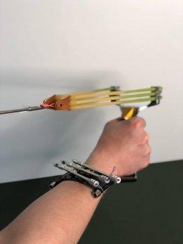 Металлическая рогатка для рыбалки и охоты DEXT Gold Pro 2.0 Максимальный набор с локтевым упором для Боуфишинга Bowfishing