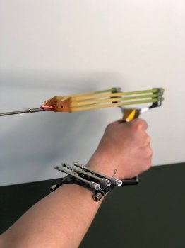 Металлическая рогатка для рыбалки и охоты DEXT Gold Pro 2.0 Стандартный набор с локтевым упором для Боуфишинга Bowfishing