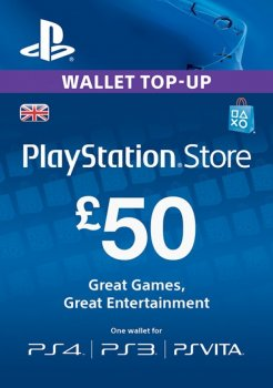 Цифровой код Сони PlayStation Network пополнение бумажника счета своего аккаунта на сумму 50£ GBP UK-регион