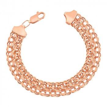 Золотой браслет в плетении двойной бисмарк с алмазной гранью 000103602