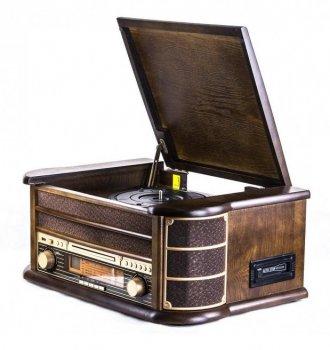 Ретро музичний центр, Радіоприймач і програвач вінілу Карузо (AM/FM USB/SD/MMC) Натуральне дерево