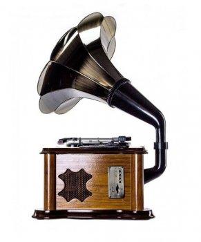 Ретро музичний центр Програвач і радіо Daklin Сінатра (Вініл/FM/MP3/AUX/USB/СD) Дуб