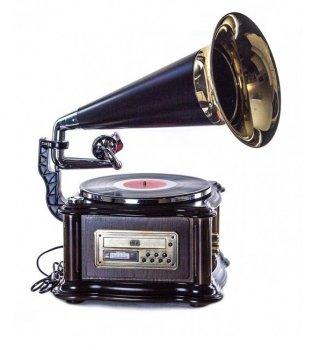 Ретро музичний центр, програвач і радіо Грамофон Daklin Лондон (вініл/USB/FM/CD) Натуральний дуб