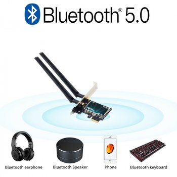 Wi-Fi адаптер FENVI 2974Mbps PCIe Wifi6 Adapter Intel AX200 Bluetooth 5.0 Dual Band 2.4G/5Ghz 802.11ax/ac External (sv0160)