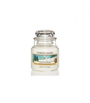 Ароматическая свеча ЧИСТЫЙ ХЛОПОК / Yankee Candle CLEAN COTTON small jar 1010727E