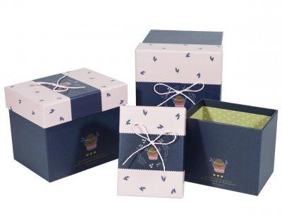 Подарункові коробки Unison прямокутні різнокольорові 16,5х13х15см 3 шт (102-32)