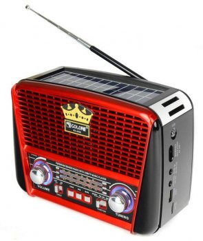 Портативная колонка MP3 USB Golon RX-456S Solar с солнечное панелью Black-Red (par_RX 456 SOLAR)