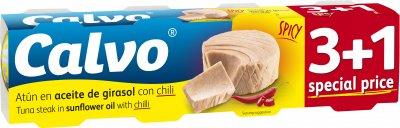 Тунец Calvo в подсолнечном масле с перцем чили 80 г х 3 + 1 шт (8410090674494)