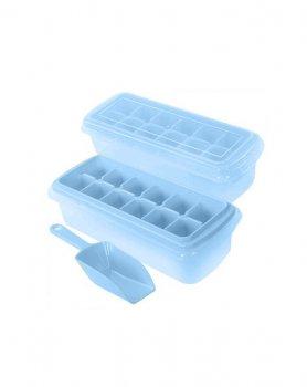 Форма для льда с контейнером и лопаткой Stenson 27*17*8см голубая R84608