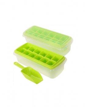 Форма для льда с контейнером и лопаткой Stenson 27*17*8см зеленая R84608