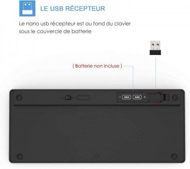 Клавиатура Беспроводная Jelly Comb WGJP - 019C Wireless Keyboard 2.4 G USB Раскладка AZERTY