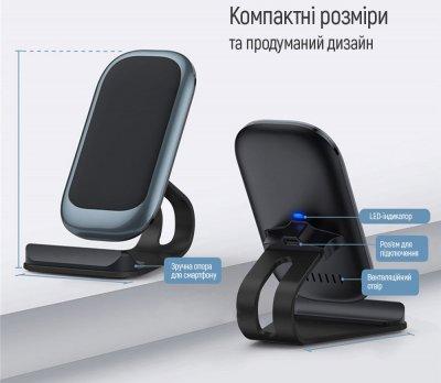 Беспроводное зарядное устройство СolorWay Wireless Stand (10W) Blue (CW-CHW30Q-BL)