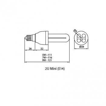 Лампа люмінесцентна Brilum 2U MINI 9W 4000K E14