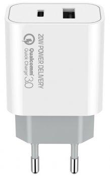Сетевое зарядное устройство СolorWay (Type-C PD + USB QC3.0) (20W) V2 White (CW-CHS025QPD-WT)