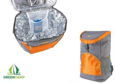 Термосумка акумулятор холоду Green Camp, термо рюкзак холодильник, для пляжу, пікніка, відпочинку на 19,8 л Сірий з помаранчевим