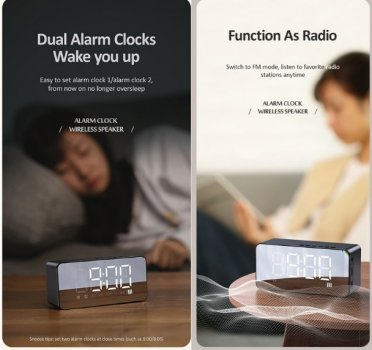 Bluetooth колонка + часы Usams US-YX007 FM-Tuner AUX BT5.0 black