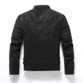 Байкерская куртка черная из экокожи с флисовой подкладкой
