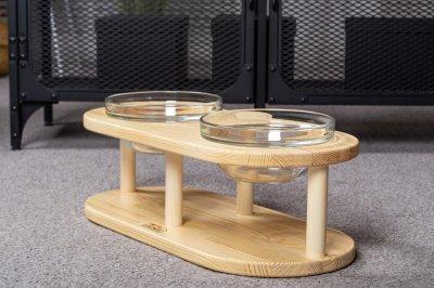 Дерев'яна підставка з мисками Pets Lounge Bowl Glass, 2х480 мл