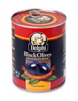 Оливки Delphi Чорні з кісткою Super Mammouth 91-100, 825мл
