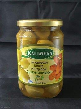 Оливки Kalimera Зелені Colossal 121-140 фаршировані цілим мигдалем, 720 мл