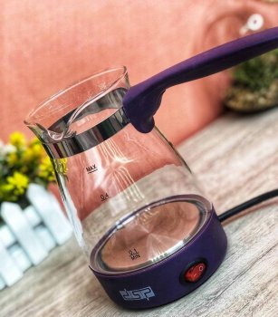 Электрическая кофеварка DSP KA-3037 электротурка стеклянная 600W 700 мл Фиолетовая