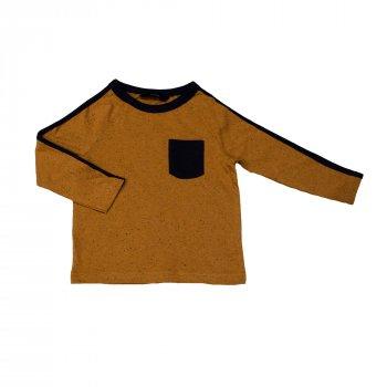 Футболка с длинным рукавом для мальчика ( 1 шт.) George горчичная с чёрным карманом и лампасами на рукавах 928