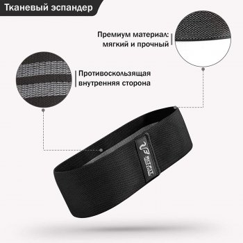 Гумка для фітнесу тканинна RitFit Black (середнє опір)