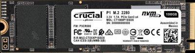 Накопичувач SSD Crucial P1 NVMe 1TB M. 2 PCIe 3.0 x4 3D NAND QLC (CT1000P1SSD8)