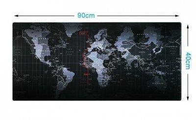 Ігровий Килимок під мишку великий 900 х 400 х 3 мм на стіл, прошитий з малюнком карта світу (MP-Map-9040-Speed)