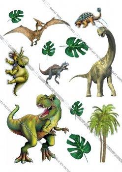 Сахарна їстівна картинка Modecor Модель Динозаври вис. 12 см, 10 см для хлопчика на торт і топпери 10,11,12,13,14,15 років Динозаври (SNP - 00023)