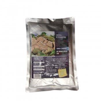Тунец в подсолнечном масле DENIA Superiore, 1000/950 г (пакет)