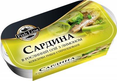 Сардина Fish Line в растительном масле с лимоном 125 г (3760204210823)