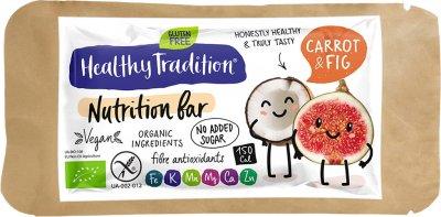 Упаковка батончиков Healthy Tradition Nutrition bar Морковь, инжир 34 г x 10 шт (4820192430432)