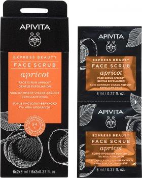 Скраб для лица Apivita Express Beauty с абрикосом Мягкое отшелушивание 2 шт х 8 мл (5201279072223)