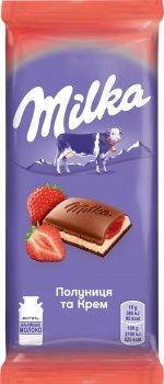 Упаковка шоколада Milka с клубникой и кремом 90 г х 28 шт (7622210434005)