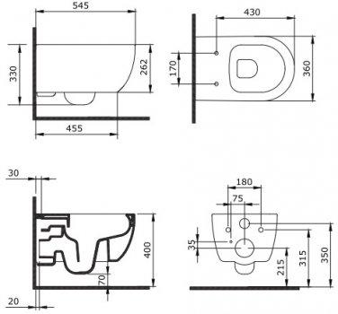 Унітаз підвісний DEVIT Art 2.0 3020140 безобідковий CleanPro із сидінням Soft Close дюропласт