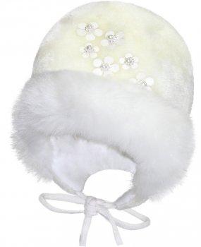 Зимняя шапка с завязками David's Star 5019 46 см Молочная (ROZ6400025887)