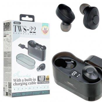 Bluetooth наушники с микрофоном Remax TWS-22 черные