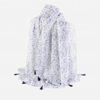 Шаль Traum 2499-35 92х180 см Белая/Синяя
