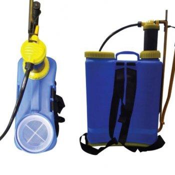 Ранцевый опрыскиватель напорный под давлением Sprayer на 16 литров синий + 3 сменных сопла