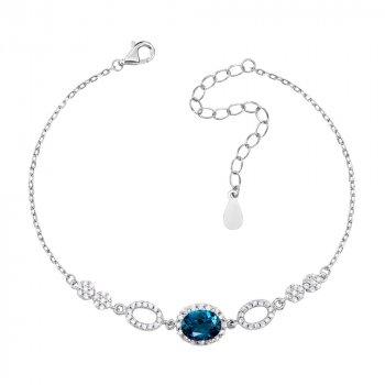 Серебряный браслет с лондон топазом и фианитами 000133825 21.5 размера
