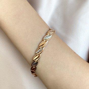 Золотой браслет в комбинированном цвете 000123145 21.5 размера