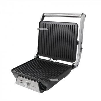 Контактный гриль прижимной электрический с терморегулятором и антипригарным покрытием Haeger 2000W Black/Silver (HG-2683)