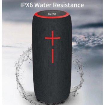 Портативна бездротова блютуз колонка Hopestar P21 WS 10 ВТ акустика з радіо флешкою і вологозахист Bluetooth 3.0 USB і TF Чорна з червоним (48033)