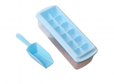 Форма для льда с контейнером и лопаткой 27*10см Голубая 91-8725532