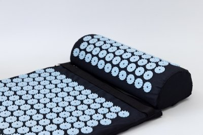 Набір Аплікатор Кузнєцова масажний акупунктурний килимок + подушка масажер для спини/ніг OSPORT Pro (n-0006) Чорно-небесний