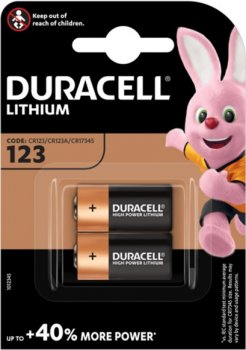 Литиевые батарейки Duracell Ultra High Power 123 3 В CR123 / CR123A / CR17345 2 шт (5000394020320)